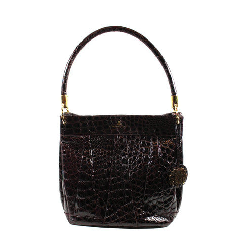 ALAÏA Black Crocodile Embossed Leather Puzzle Zip Top Handle Satchel Tote Bag GC