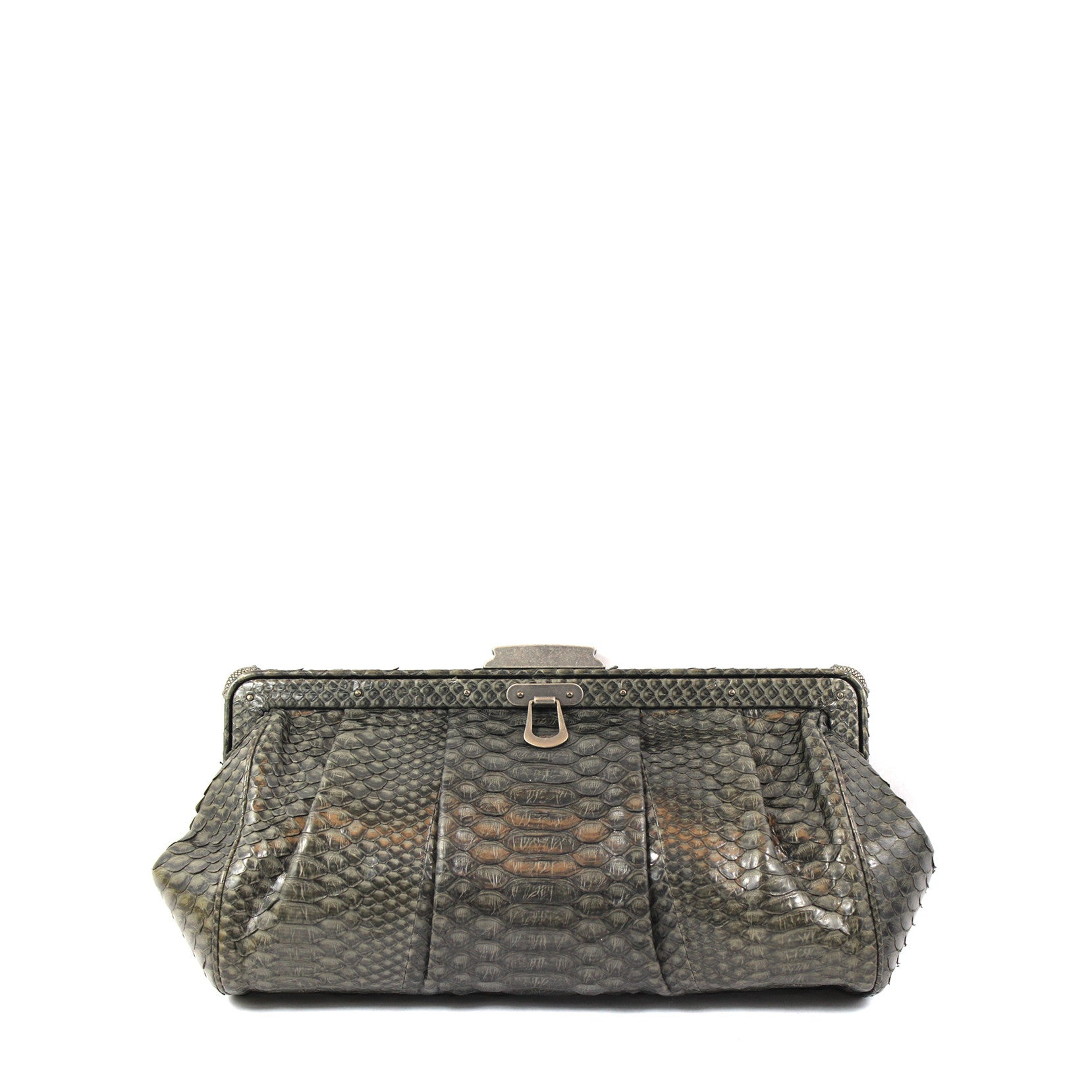 'SOLD' Elie Tahari Charcoal Snakskin Clutch