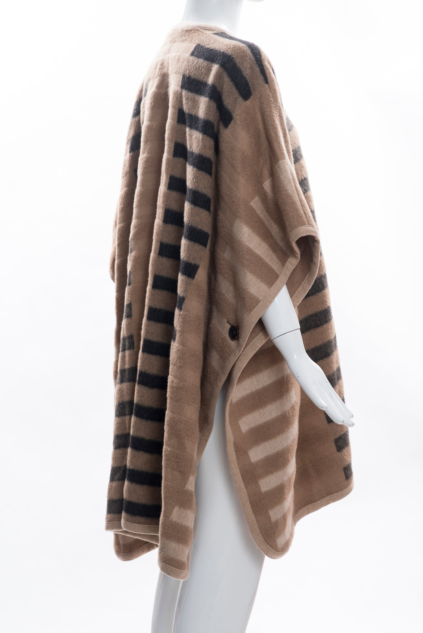 $2495 ESCADA Caramel Camel Mixed-Tone Striped Bar Print Blanket Cape Poncho S GC