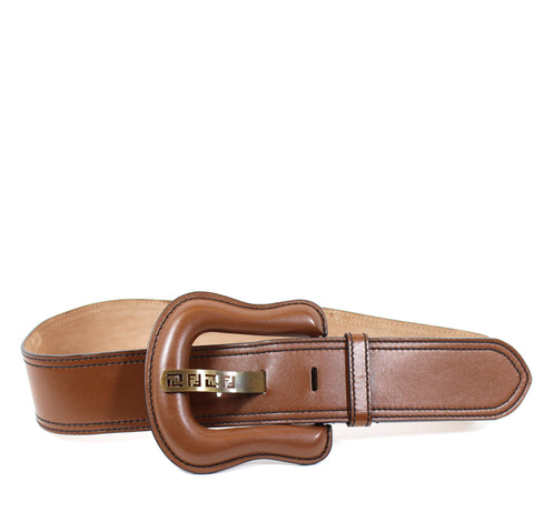 Fendi Chunky Brown Leather Belt