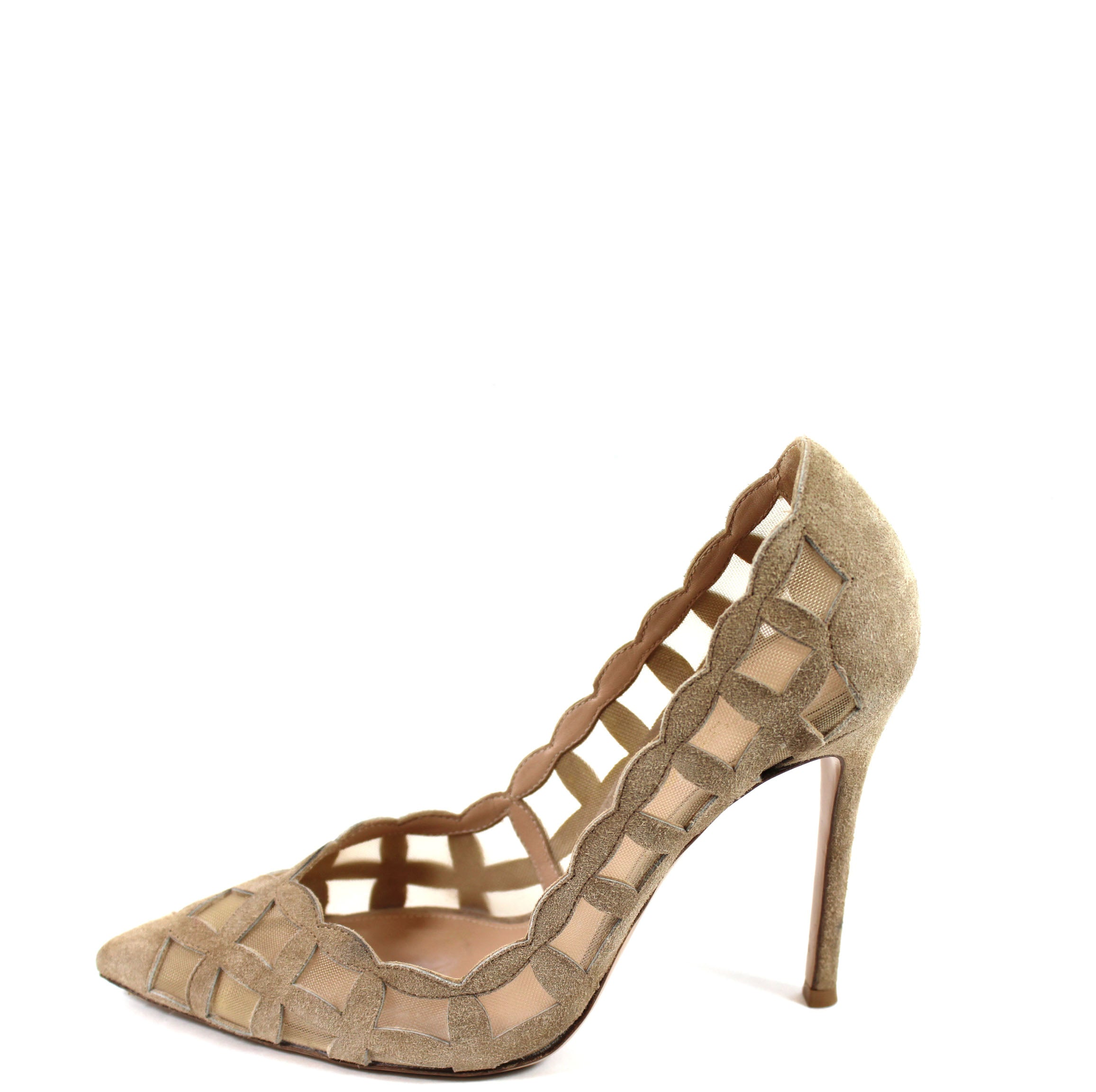 Gianvito Rossi Beige Suede Cut-out Pumps (Size 37)