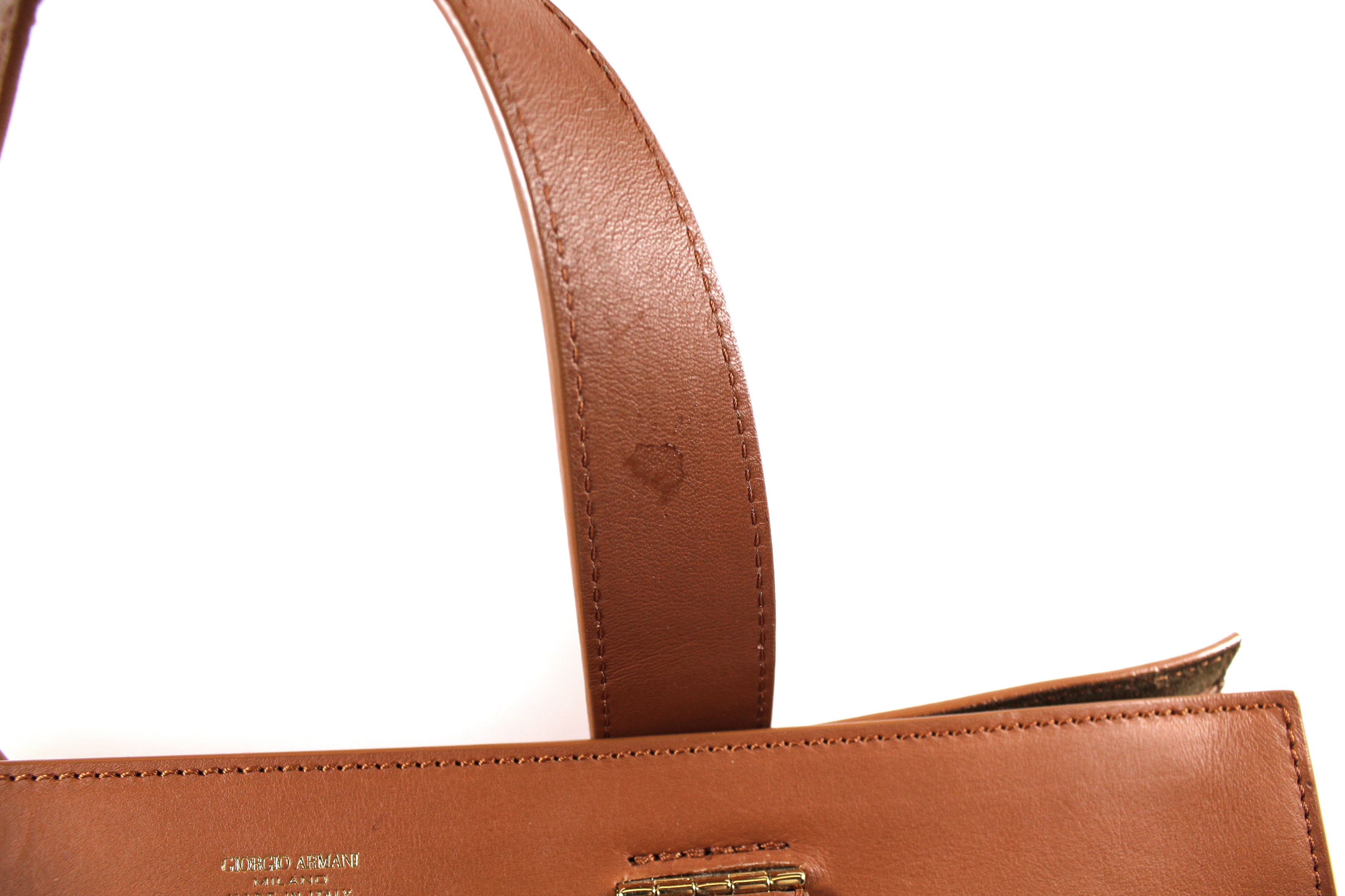 Giorgio Armani Brown Deerskin Leather Tote