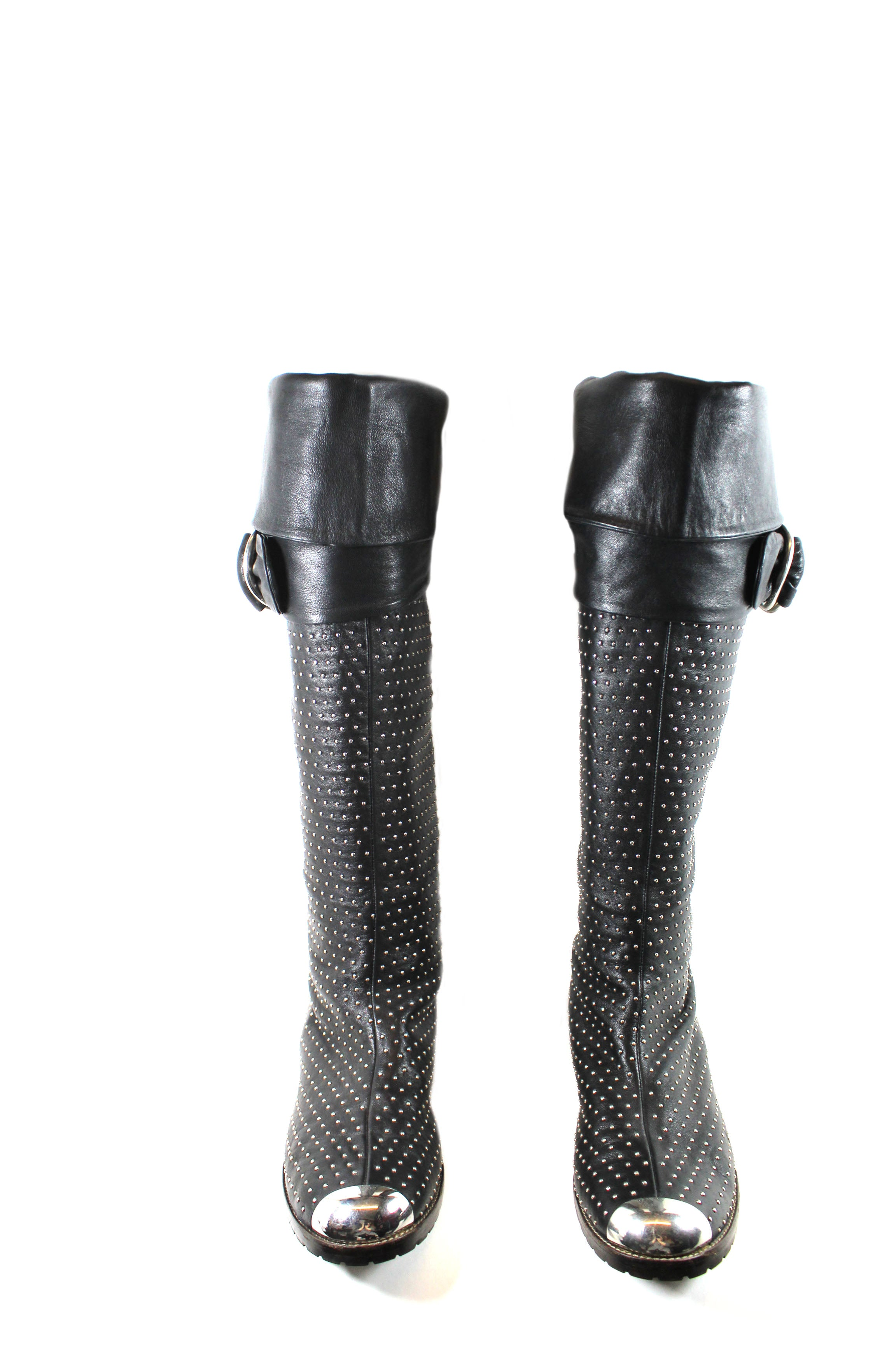 Giuseppe Zanotti Black Leather Studded Boots (Size 41)