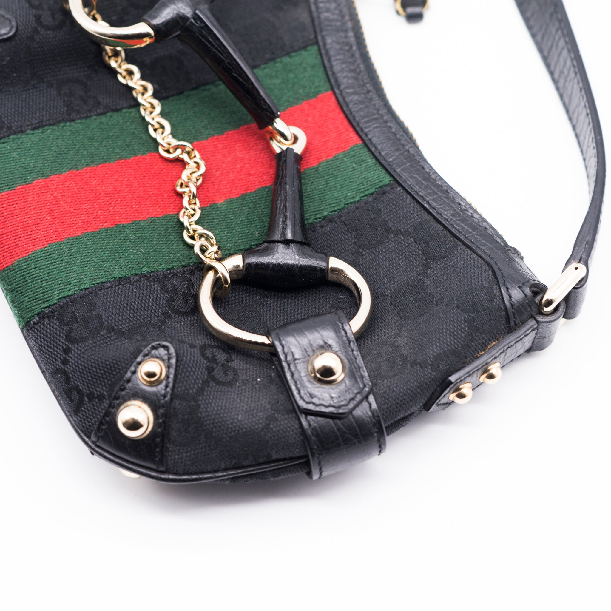 2c33ac8d3c9 GUCCI Monogram GG Canvas Web Gold Horsebit Chain Mini Shoulder Bag Tom Ford  Era