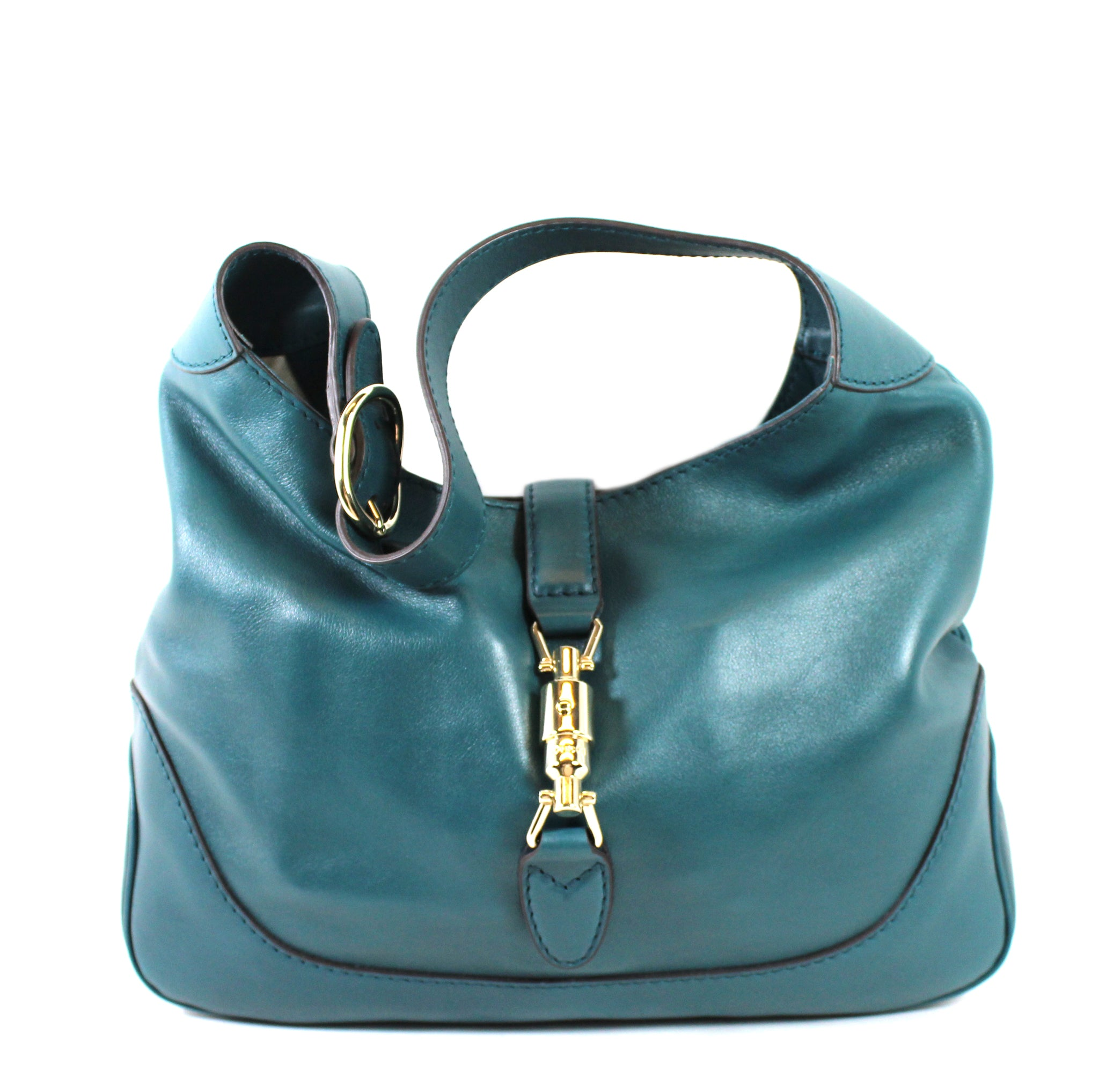 0aa216735e8d Gucci  Jackie  Teal Leather Medium Hobo Bag – Encore Resale.com