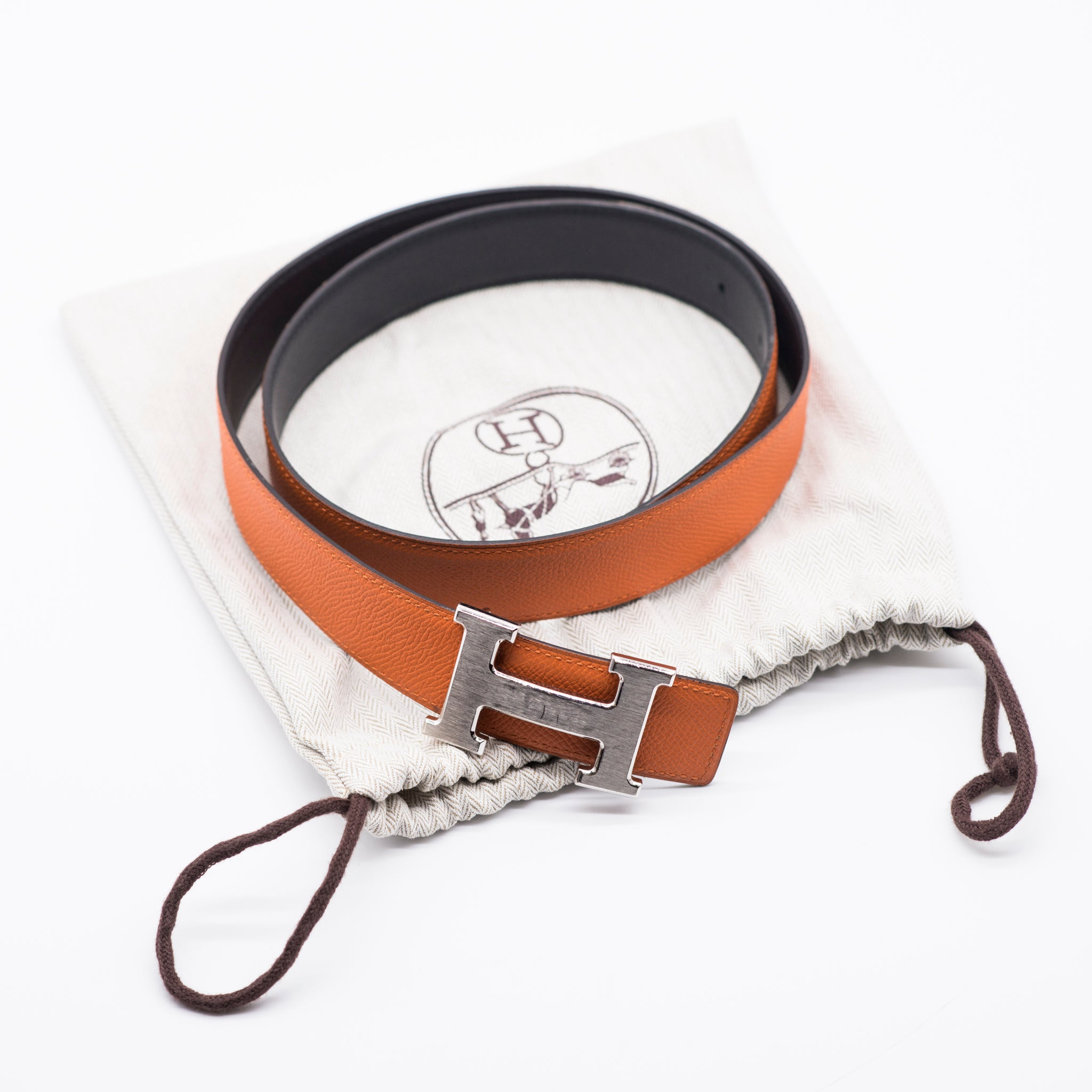 HERMES Reversible Orange Black Leather Brushed Palladium H Buckle Belt Kit 85 T