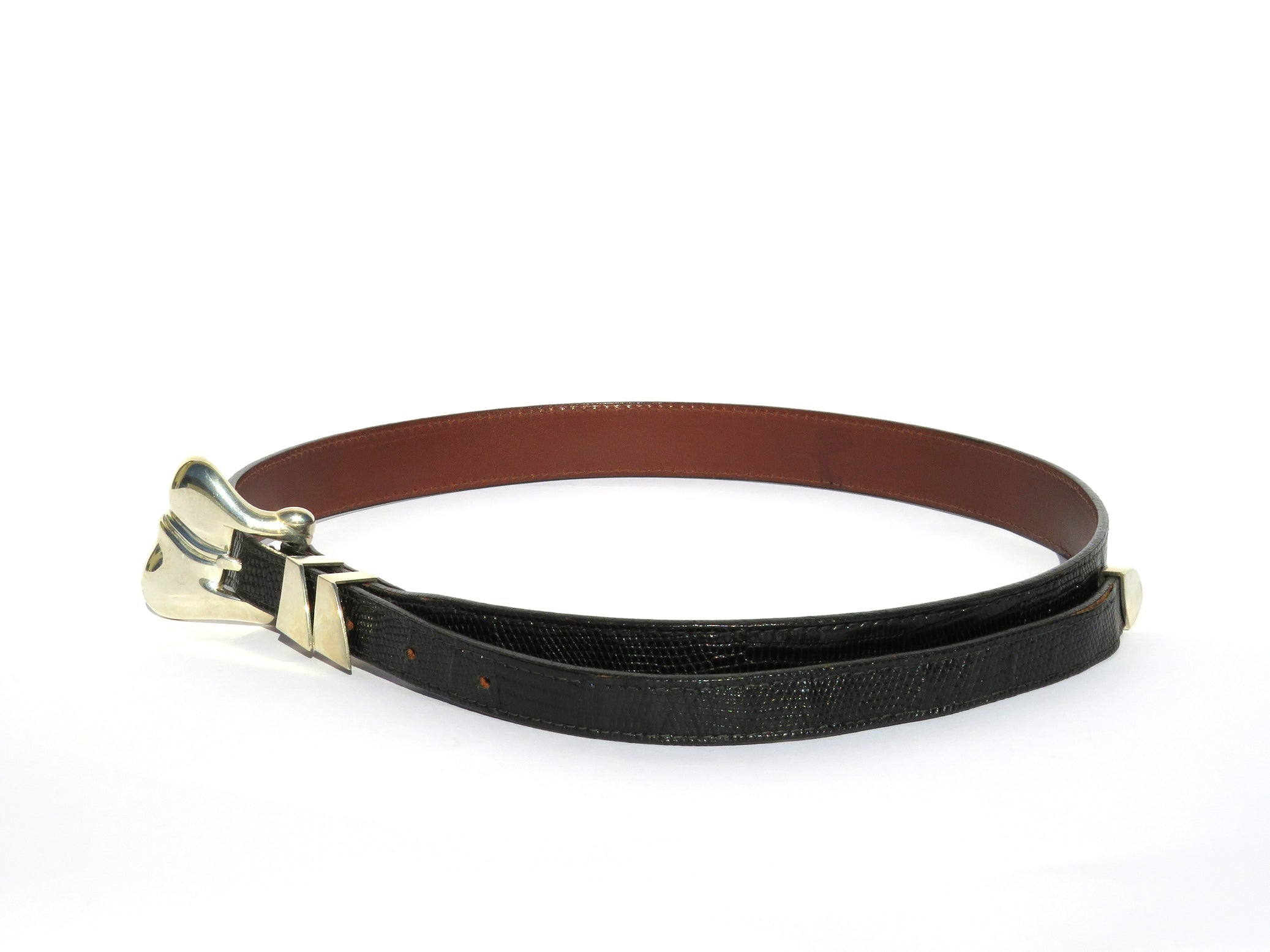 KIESELSTEIN CORD Vintage Black Lizard Leather Sterling Silver Buckle Belt 28-32""
