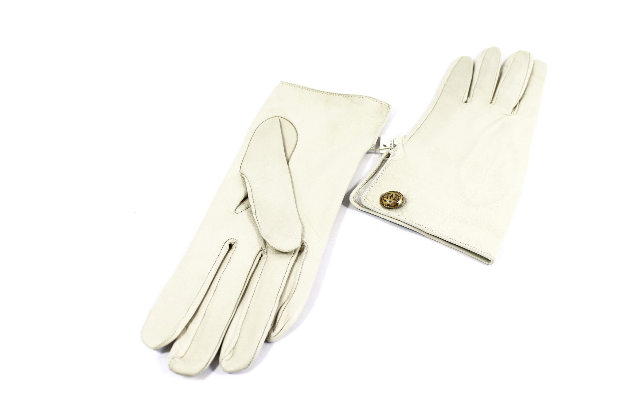 Chanel Cream Leather Gloves - Encore Consignment - 3