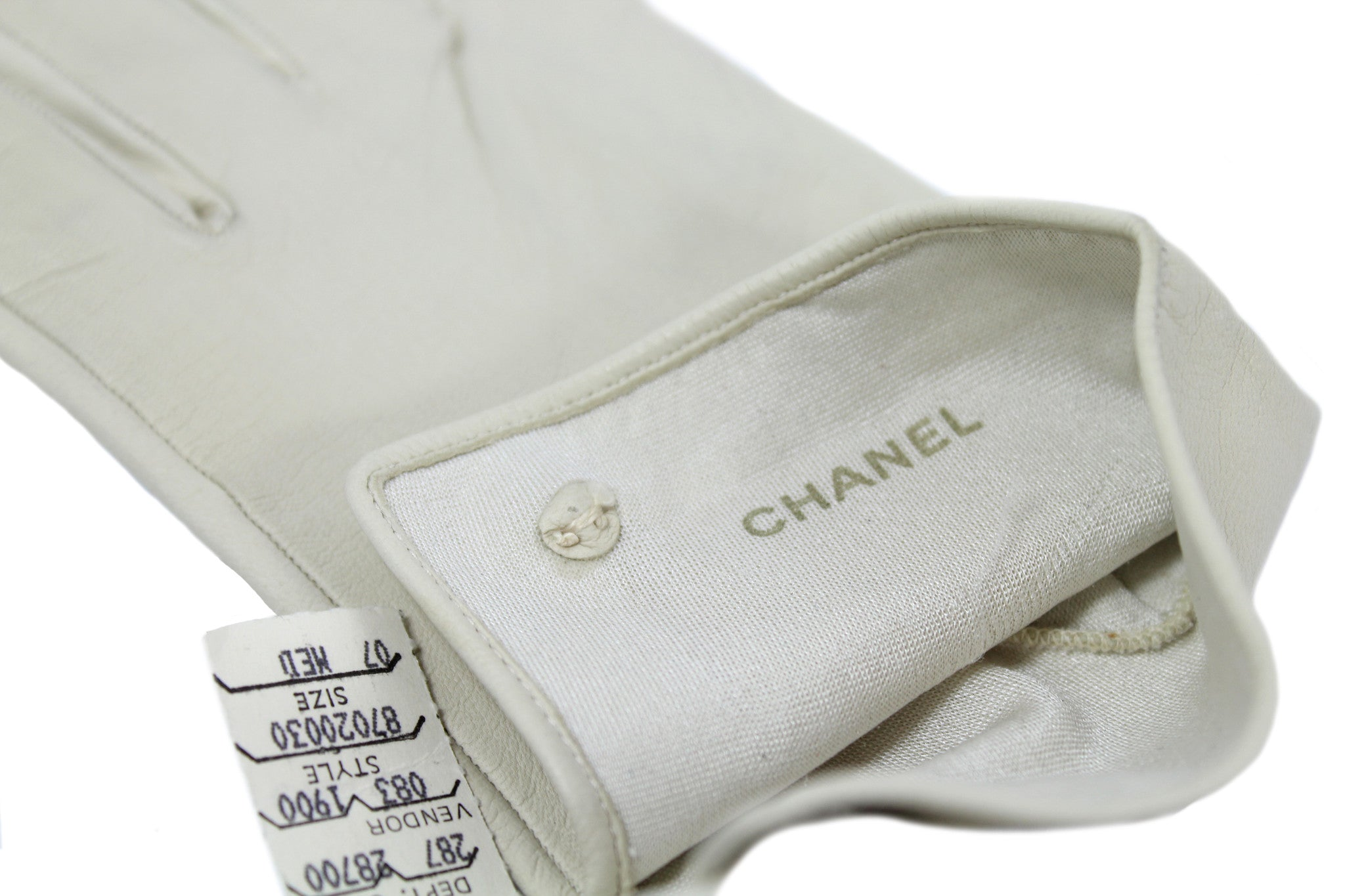 Chanel Cream Leather Gloves - Encore Consignment - 8
