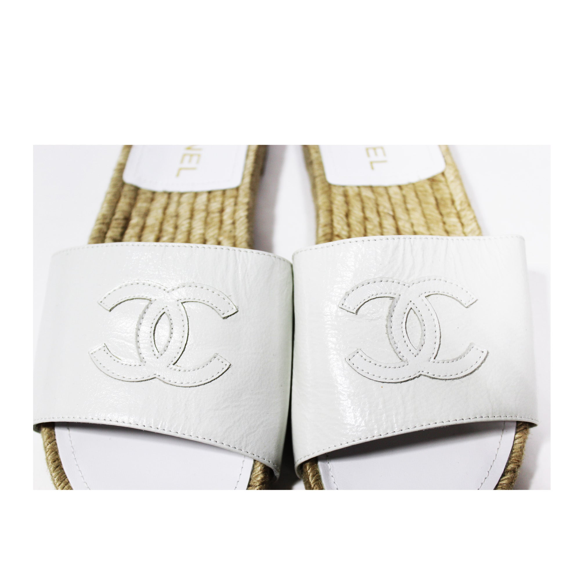 CHANEL 2018 White Creme Lambskin Leather Espadrille Mule Sandals 37