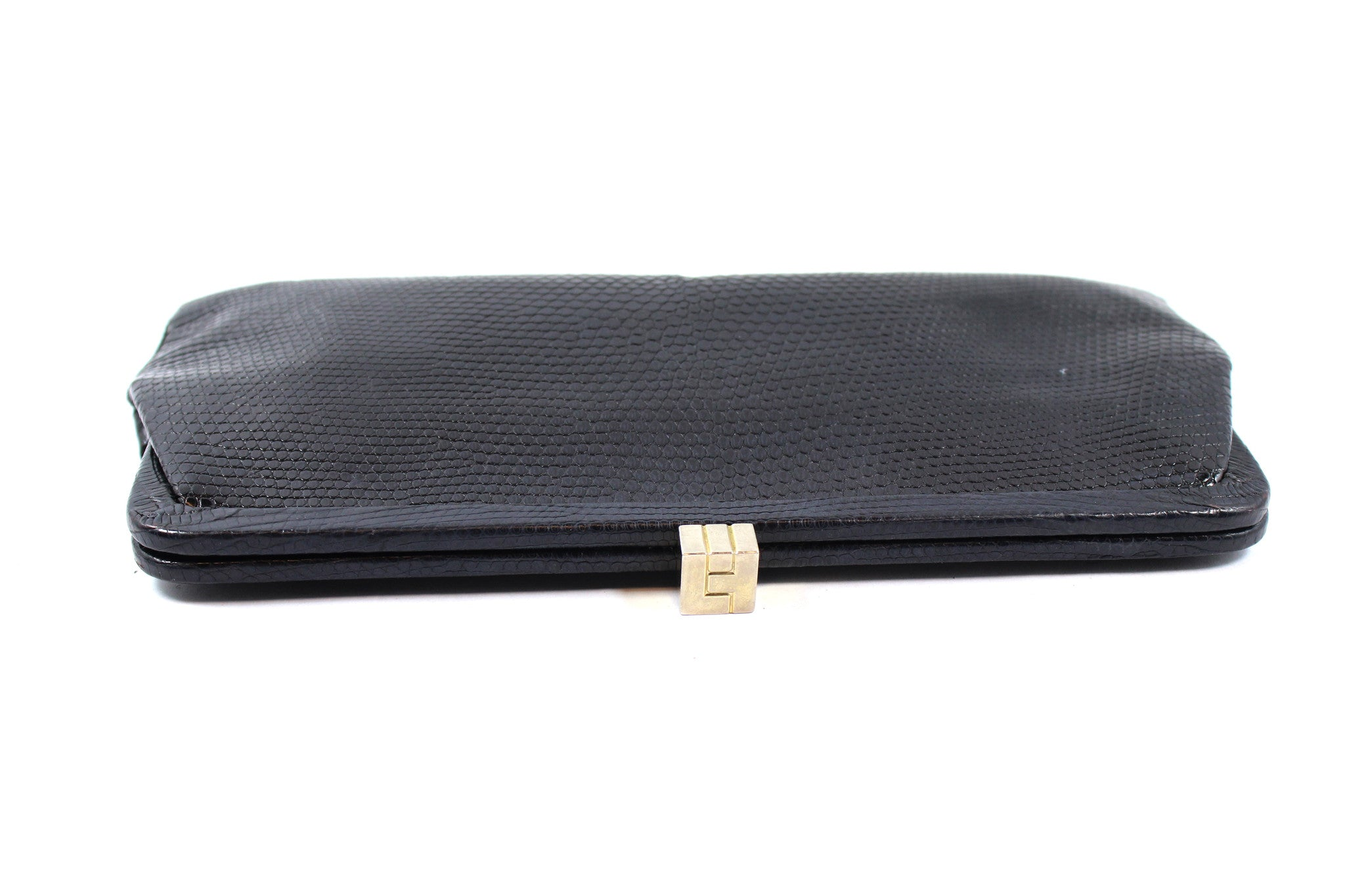 Lambertson Truex Black Lizard Clutch - Encore Consignment - 3