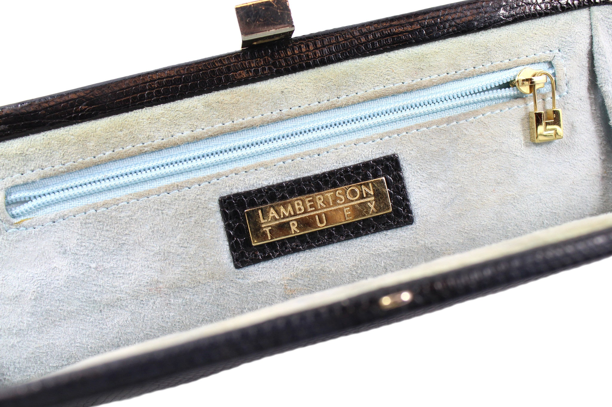 Lambertson Truex Black Lizard Clutch - Encore Consignment - 8