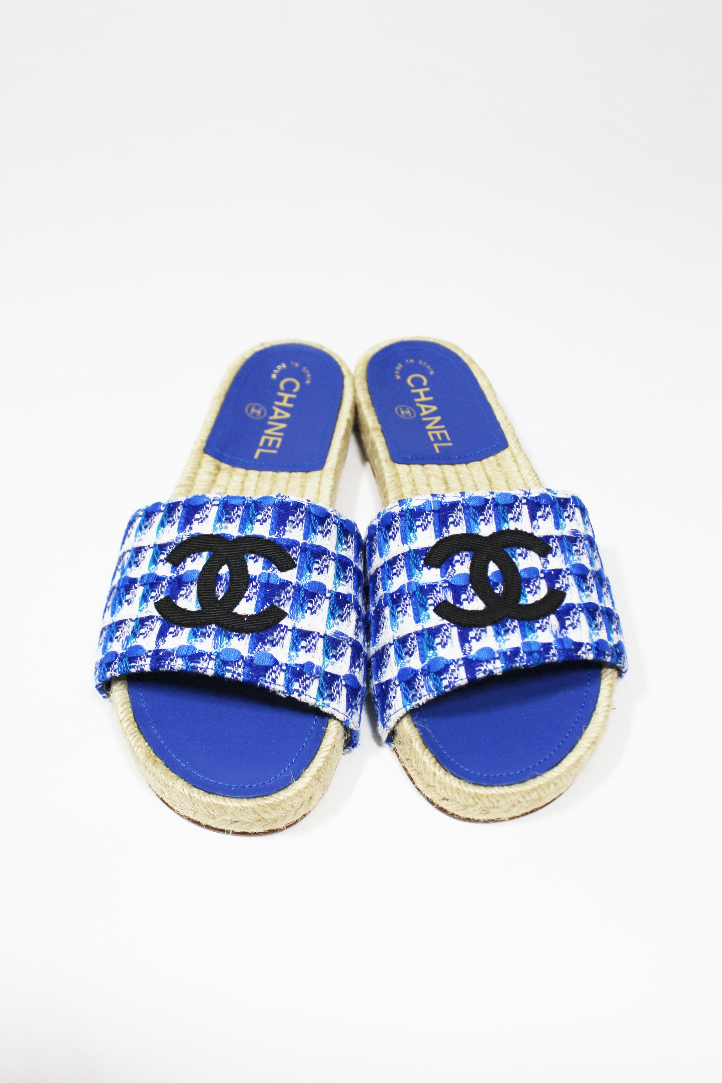 2018 CHANE Blue Tweed And Grosgrain Espadrille Black CC Mule Sandals 37