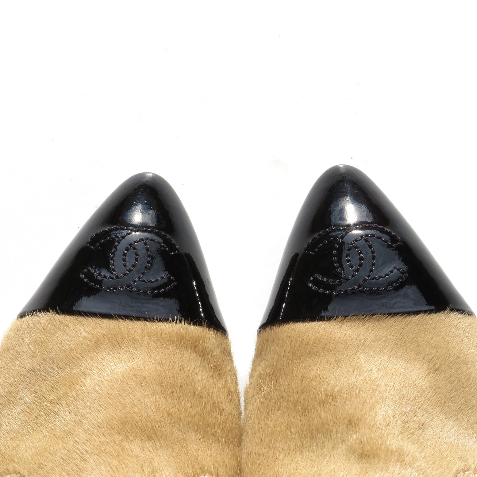 CHANEL 18B Beige Tan Hair Calf Fur Black Patent Point Cap Toe Short Boots 38 C