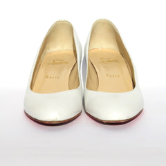 'Sold' CHRISTIAN LOUBOUTIN Peanut 45 White Leather Round Toe Covered Wedge Heels 39.5