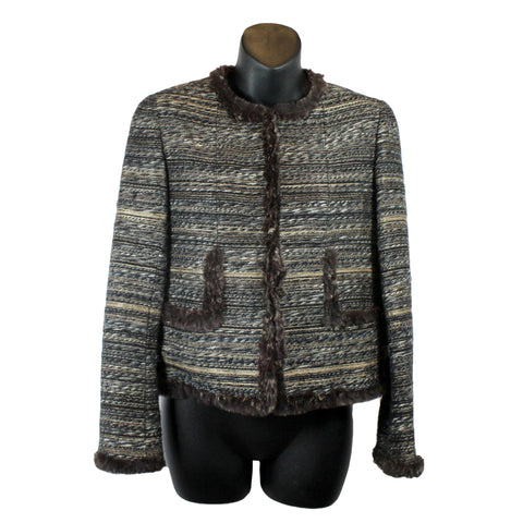 Chanel Tweed Jacket With Rabbit Fur Trim (Size 38) - Encore Consignment - 1