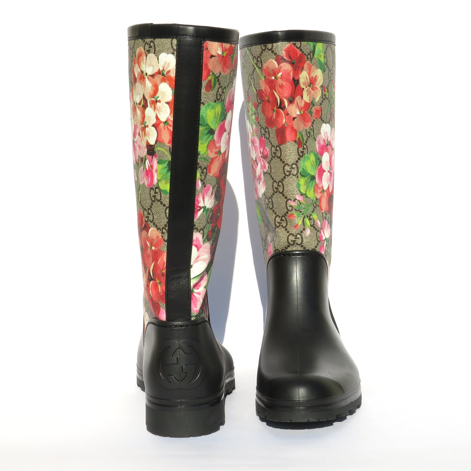 'Sold' GUCCI Prato Supreme GG Blooms Multi Pink Black Rubber Wellies Rain Boots 38 EC