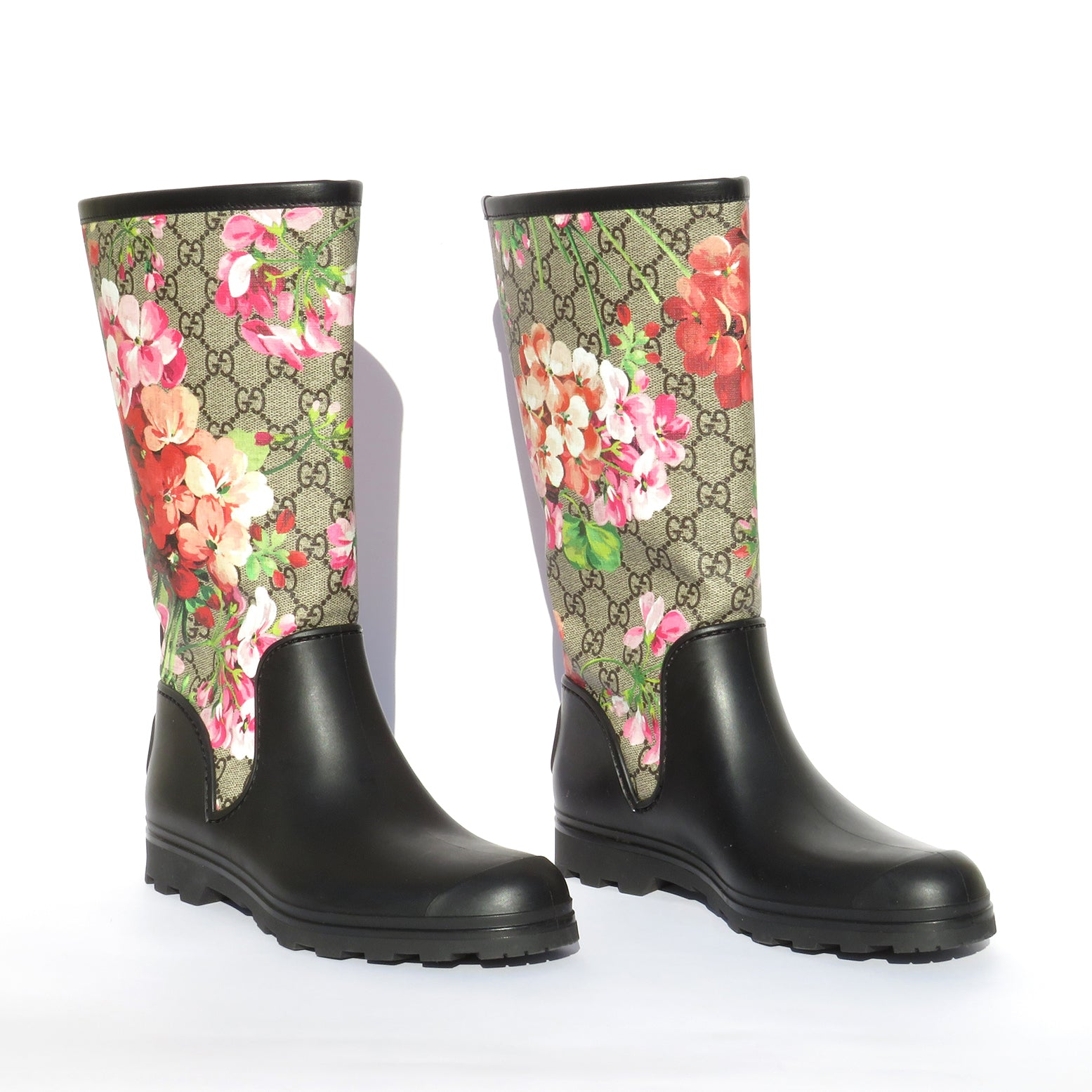 GUCCI Prato Supreme GG Blooms Multi Pink Black Rubber Wellies Rain Boots 38 EC