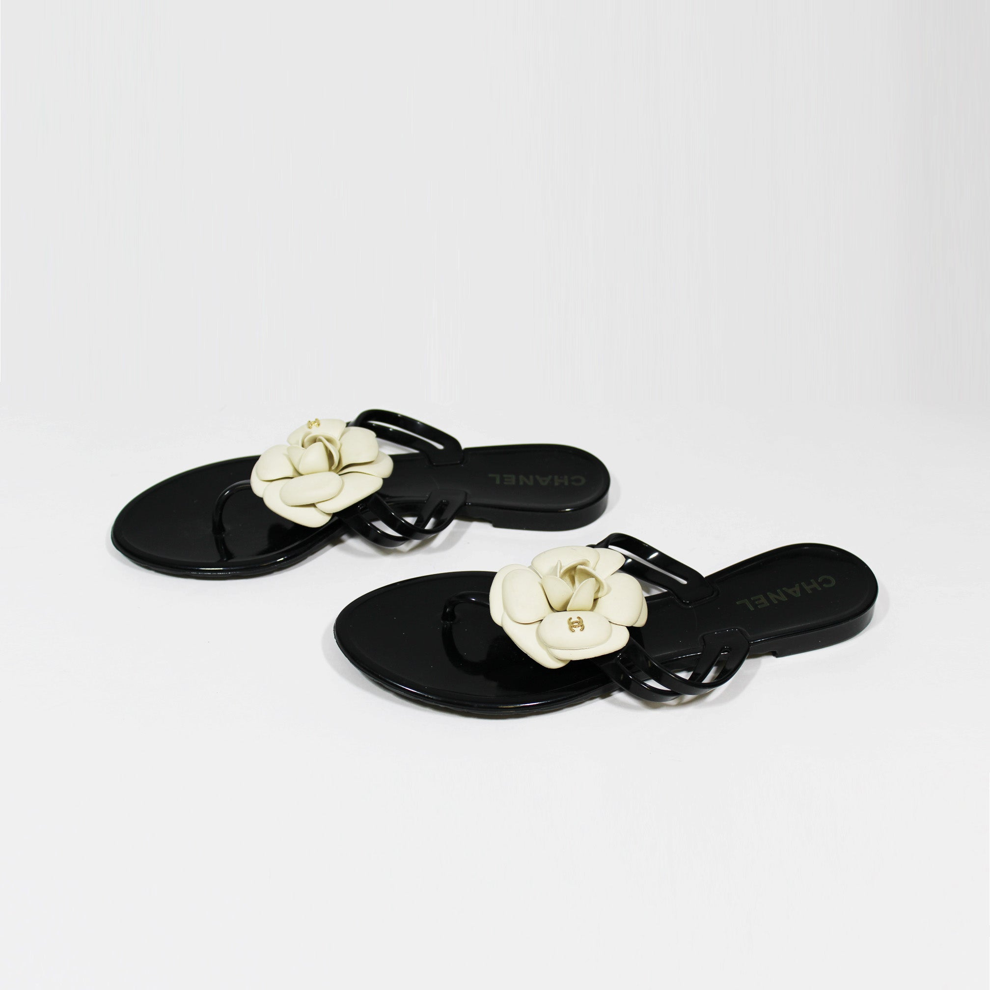 CHANEL Black & Cream Camellia Flower Jelly Sandals 38