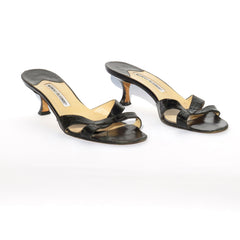 MANOLO BLAHNIK Callamu Black Crocodile Alligator Crisscross Slide Sandals 39.5