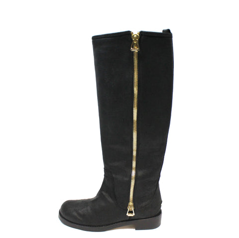 Jimmy Choo Suede 'Doreen' Zip Knee-High Flat Boots (Size 35) - Encore Consignment - 1