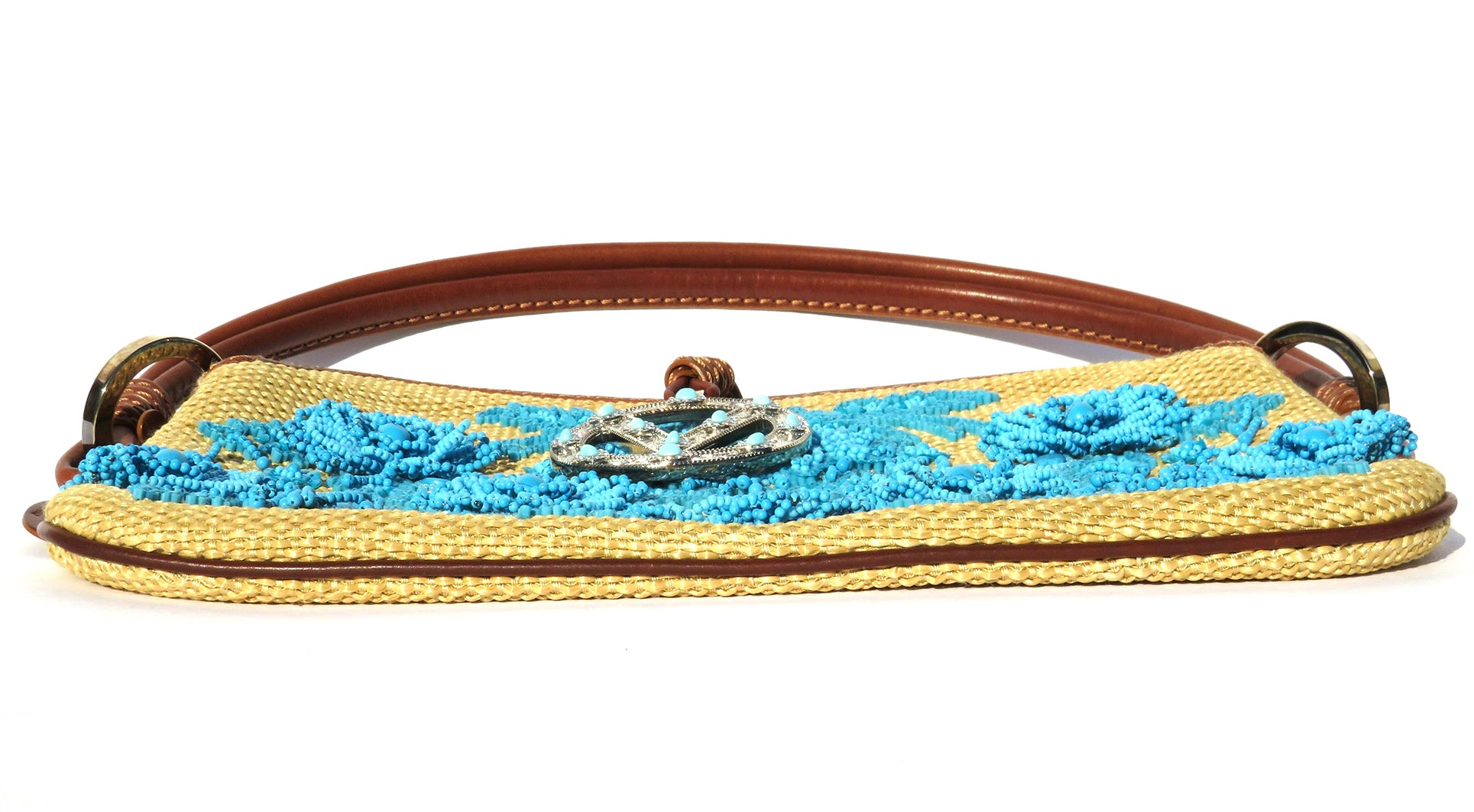 VALENTINO Beige Tan Woven Aqua Blue Beaded Cognac Leather Silver Clasp Catch Bag
