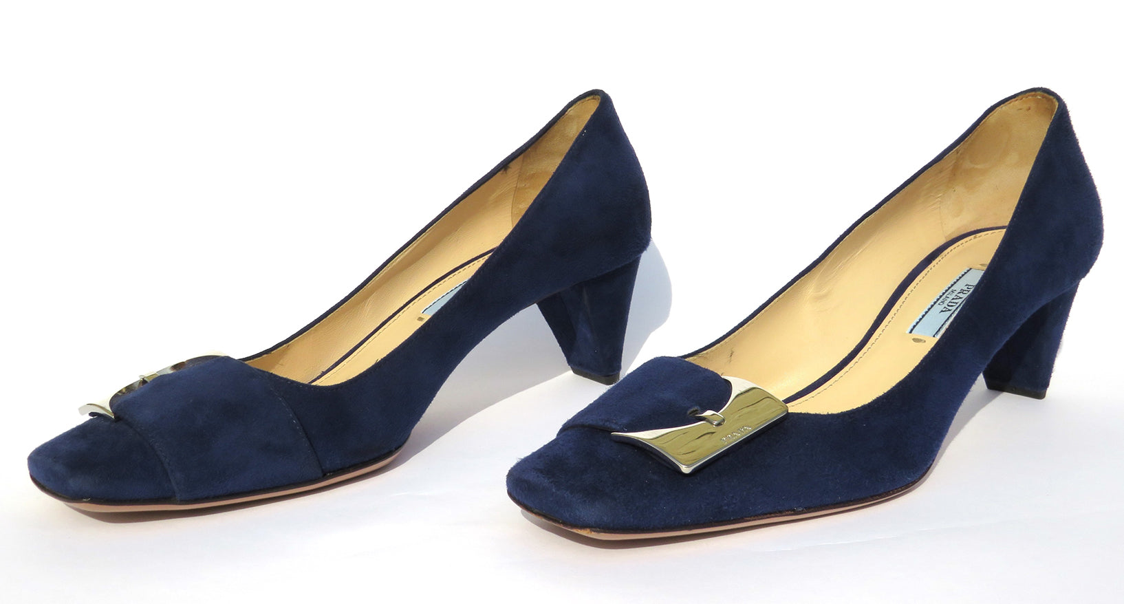 PRADA Blue Suede Silver Logo Buckle Strap Square Toe Low Cone Heel Pumps 36.5 GC