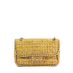 Chanel Quilted Yellow Tweed Shoulder Bag - Encore Consignment - 1