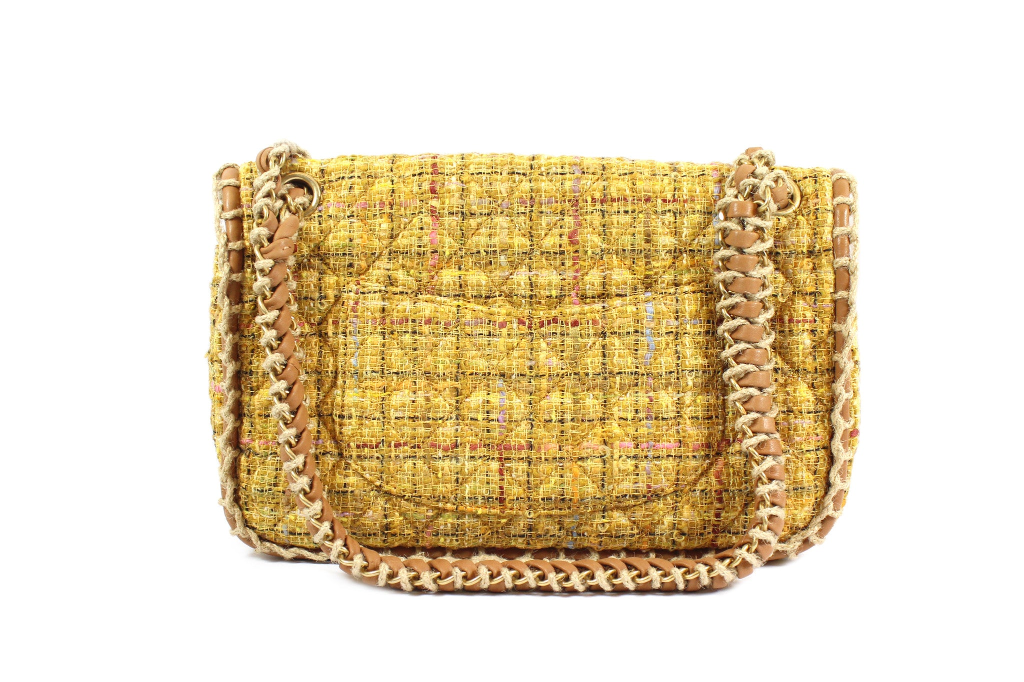Chanel Quilted Yellow Tweed Shoulder Bag - Encore Consignment - 3