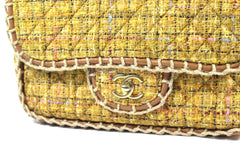 Chanel Quilted Yellow Tweed Shoulder Bag - Encore Consignment - 2