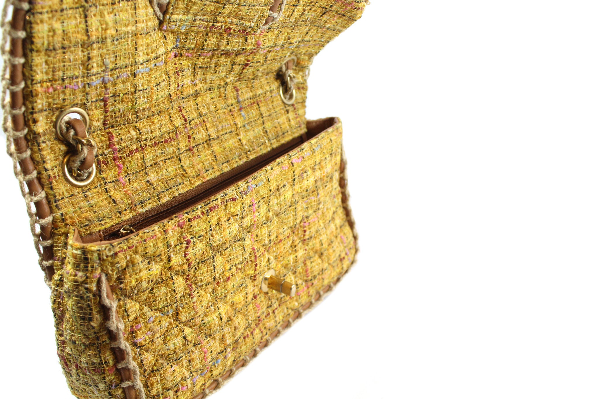 Chanel Quilted Yellow Tweed Shoulder Bag - Encore Consignment - 4