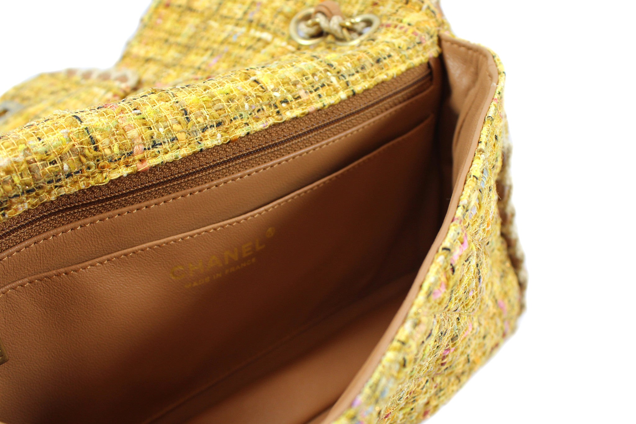 Chanel Quilted Yellow Tweed Shoulder Bag - Encore Consignment - 6