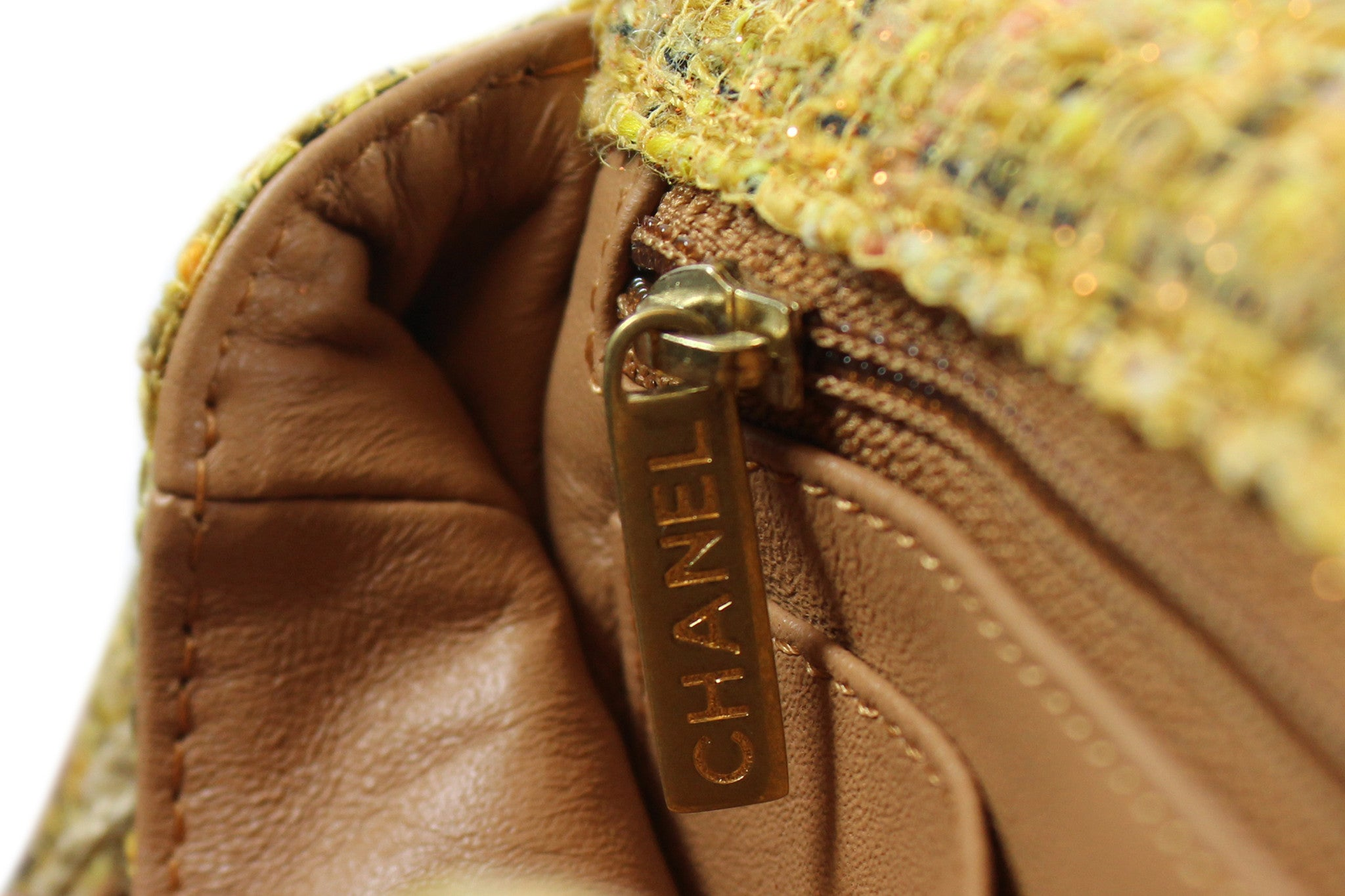 Chanel Quilted Yellow Tweed Shoulder Bag - Encore Consignment - 8