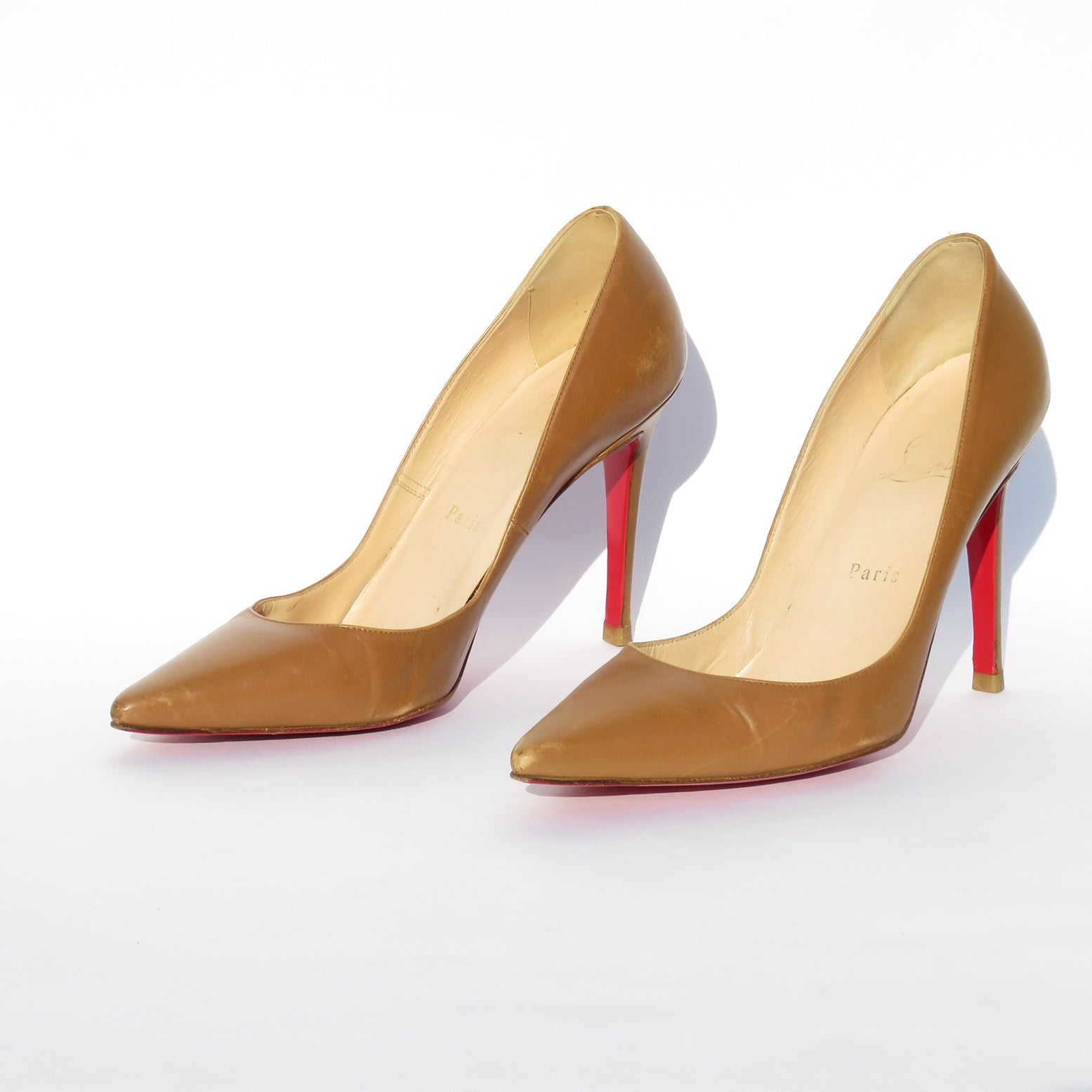 CHRISTIAN LOUBOUTIN Cognac Tan Brown Leather Pointed Toe Stiletto Heel Pumps 39