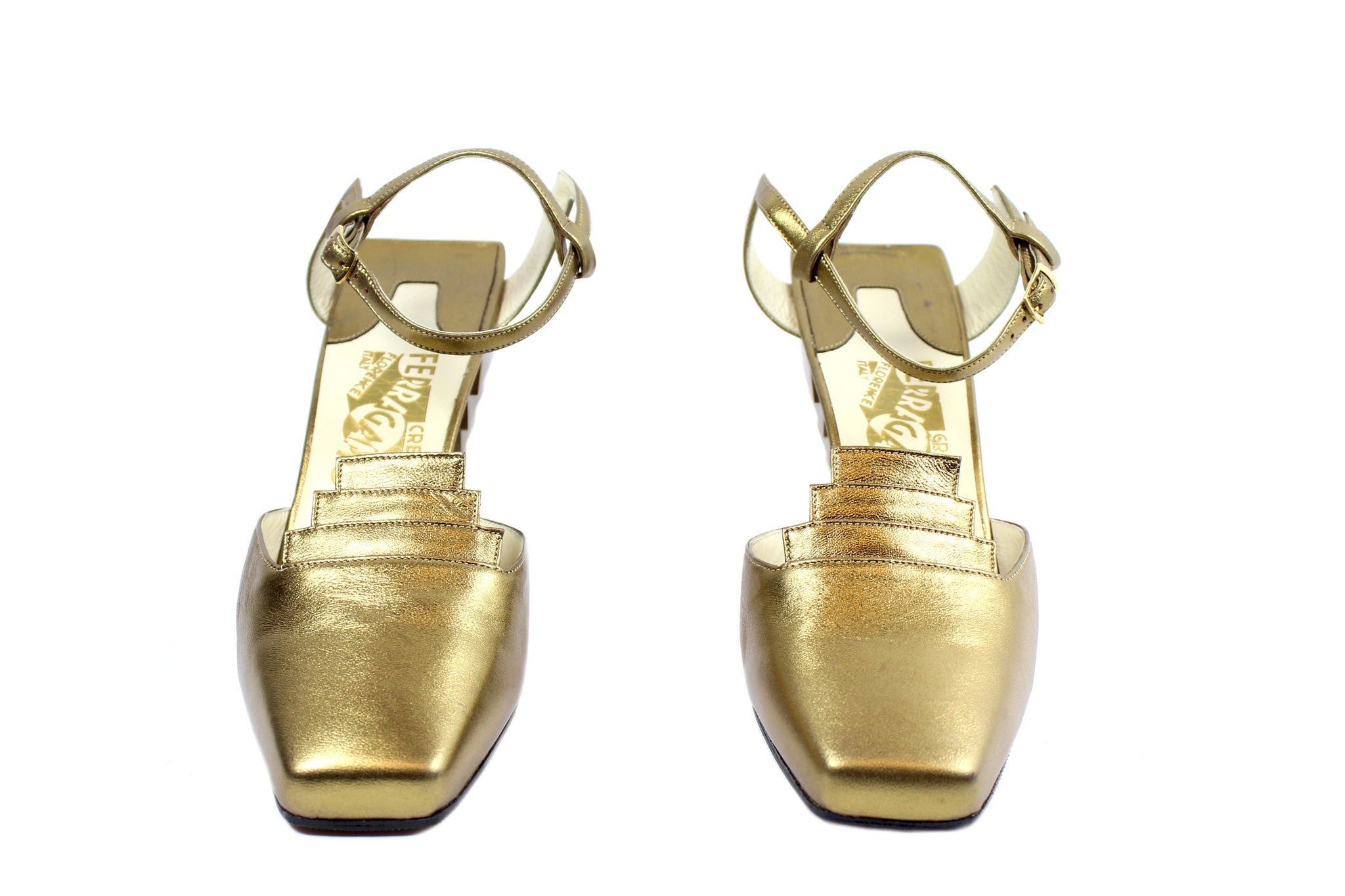 Salvatore Ferragamo 1930s Gold Pyramid Sandals (Size 6) - Encore Consignment - 3
