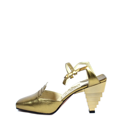 Salvatore Ferragamo 1930s Gold Pyramid Sandals (Size 6) - Encore Consignment - 1