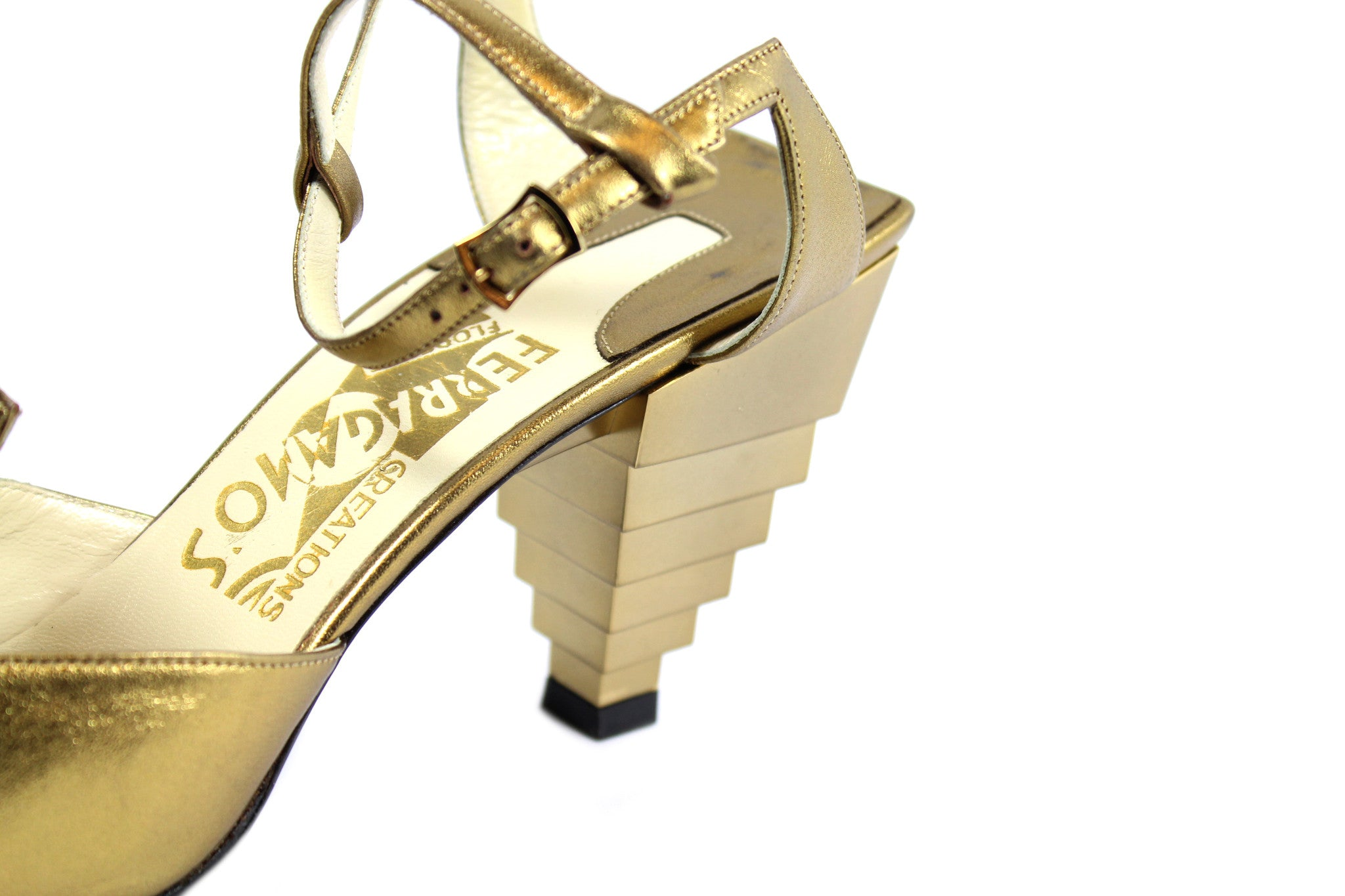 Salvatore Ferragamo 1930s Gold Pyramid Sandals (Size 6) - Encore Consignment - 6