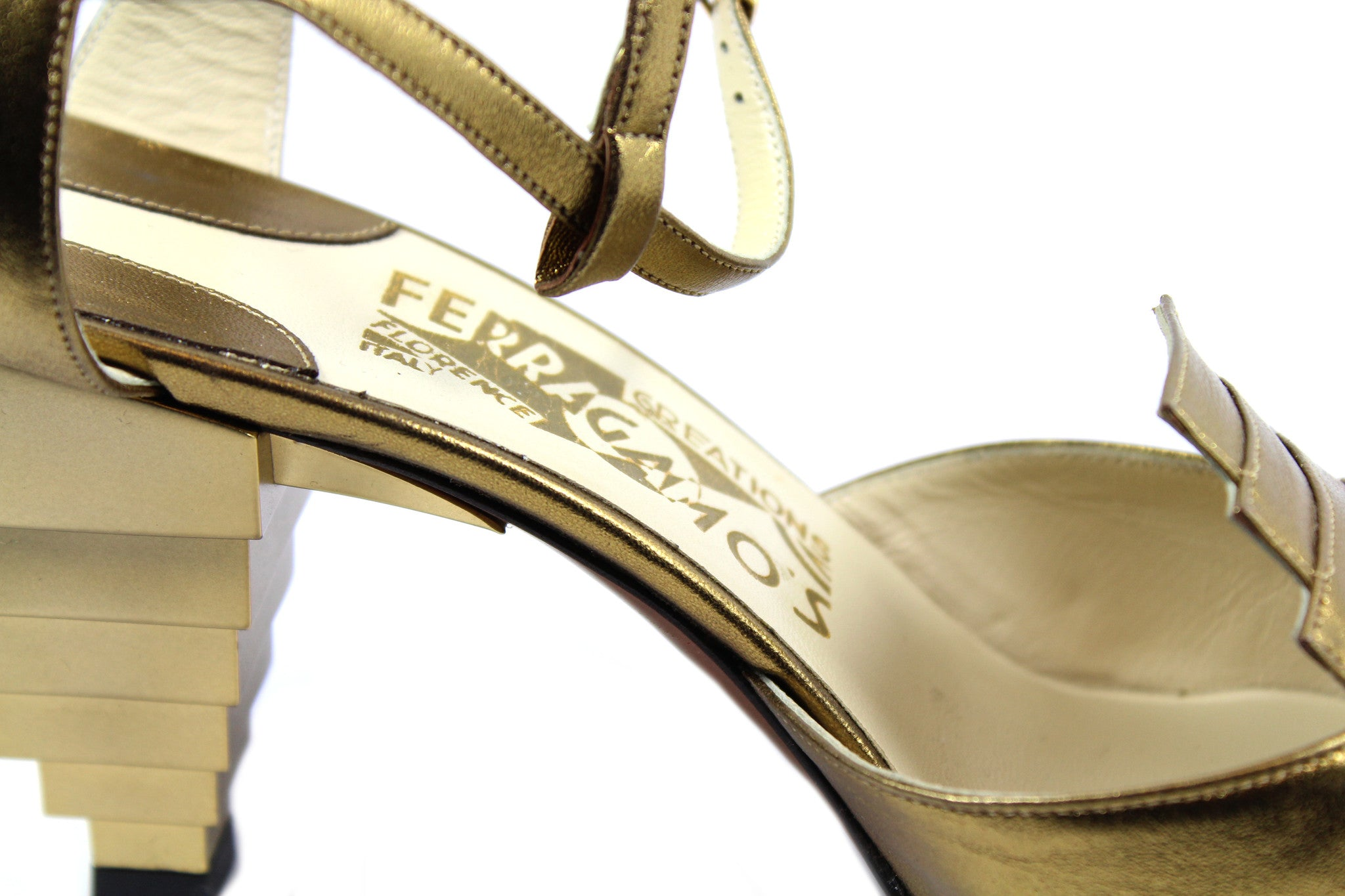 Salvatore Ferragamo 1930s Gold Pyramid Sandals (Size 6) - Encore Consignment - 10