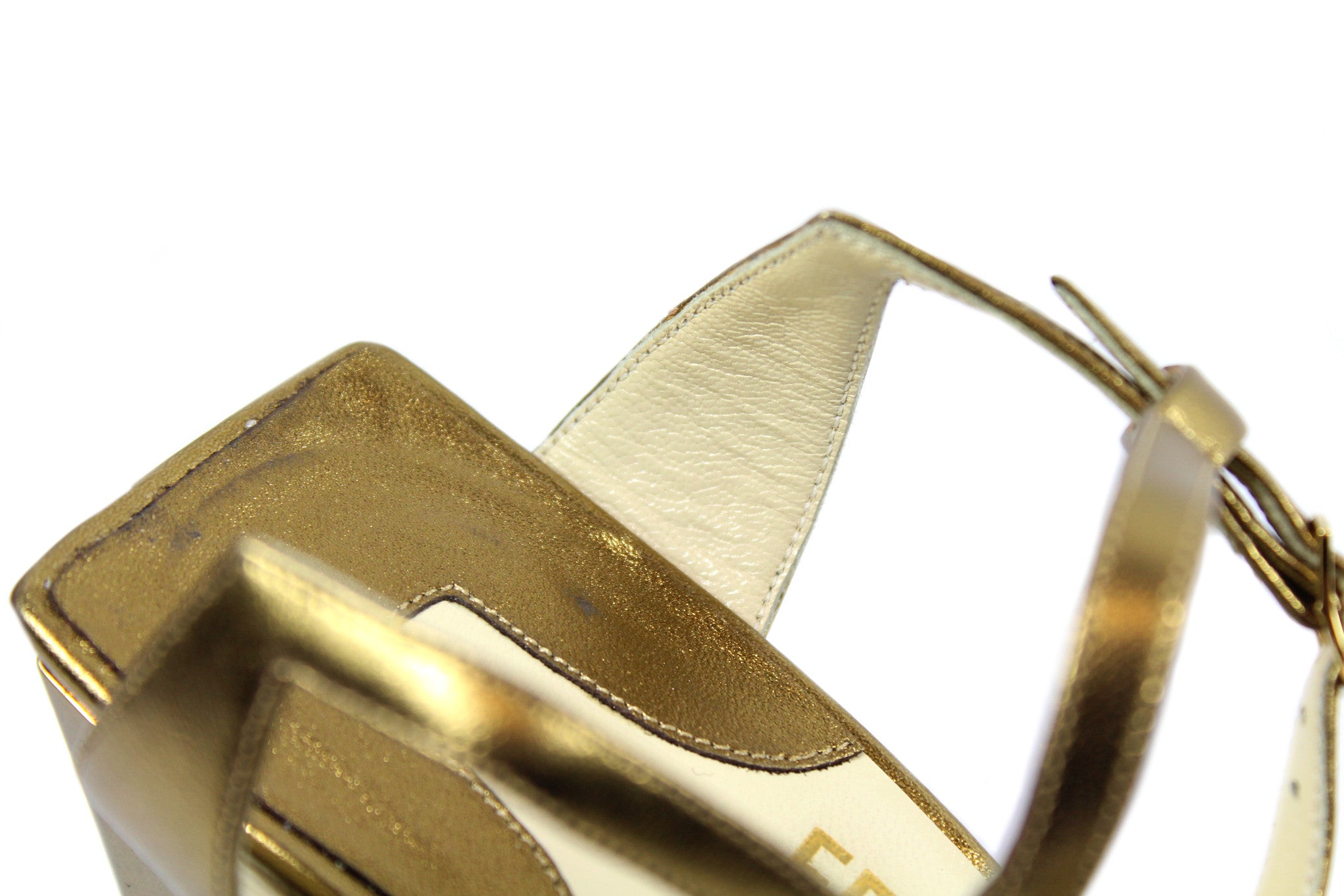 Salvatore Ferragamo 1930s Gold Pyramid Sandals (Size 6) - Encore Consignment - 9