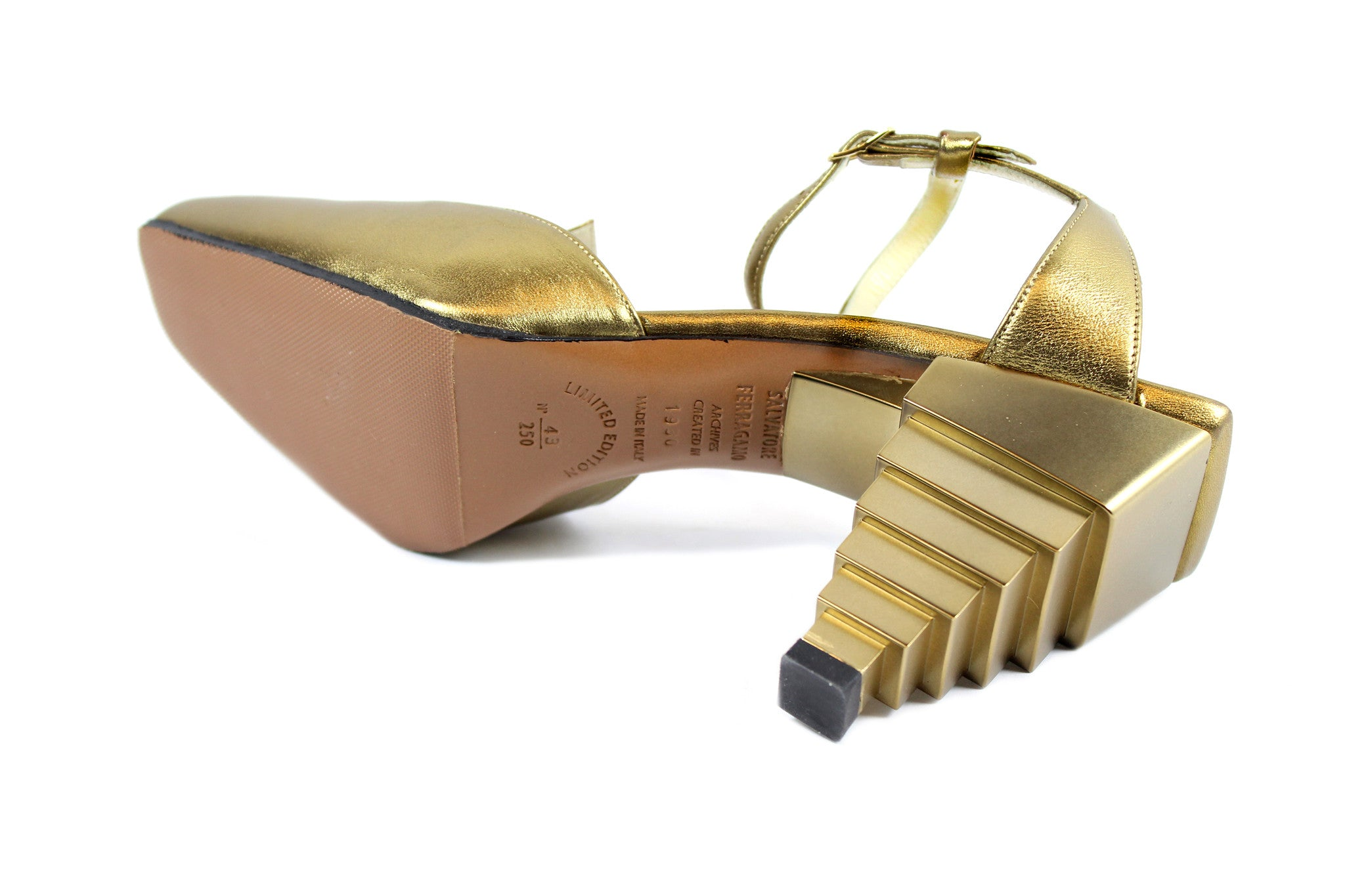 Salvatore Ferragamo 1930s Gold Pyramid Sandals (Size 6) - Encore Consignment - 11