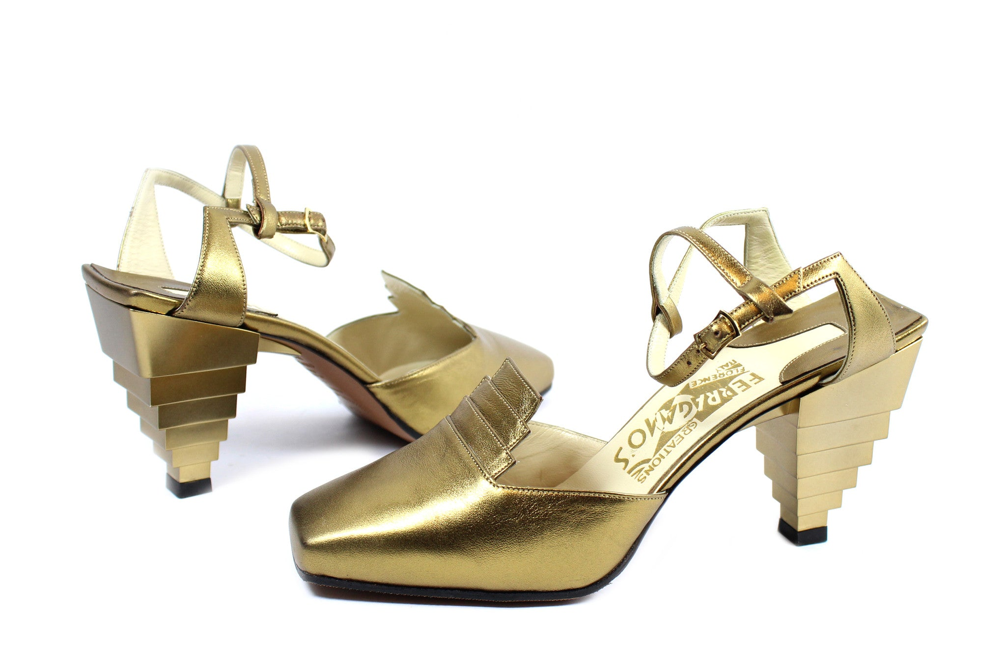 Salvatore Ferragamo 1930s Gold Pyramid Sandals (Size 6) - Encore Consignment - 2