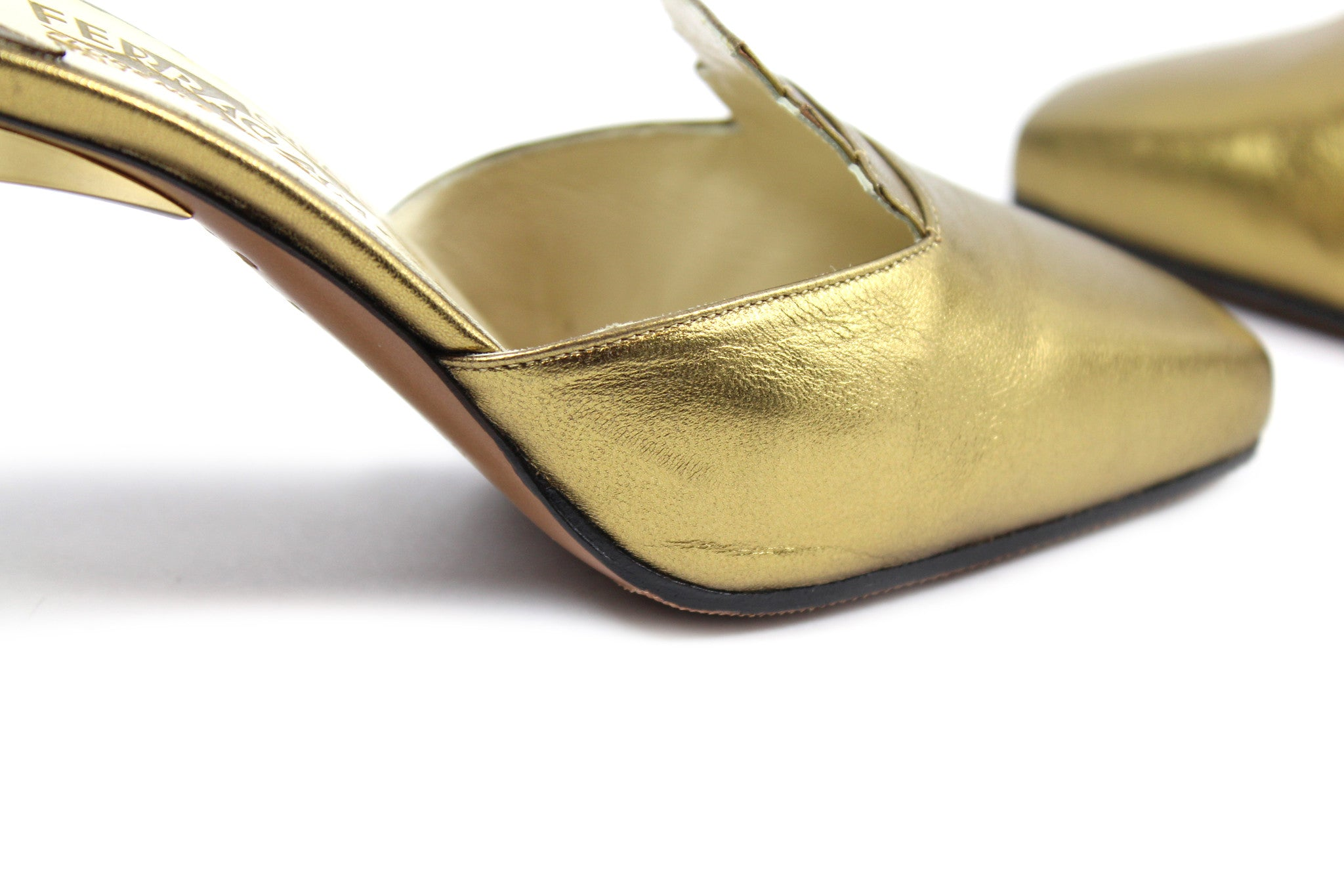 Salvatore Ferragamo 1930s Gold Pyramid Sandals (Size 6) - Encore Consignment - 7