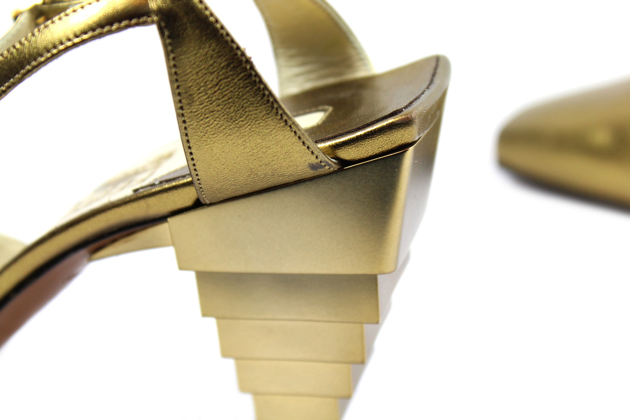 Salvatore Ferragamo 1930s Gold Pyramid Sandals (Size 6) - Encore Consignment - 8