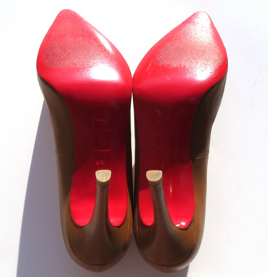 'Sold' CHRISTIAN LOUBOUTIN Cognac Tan Brown Leather Pointed Toe Stiletto Heel Pumps 39