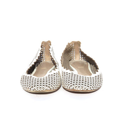 CHLOE Lauren White Perforated Laser Cut Leather Scalloped Trim Ballet Flats 37