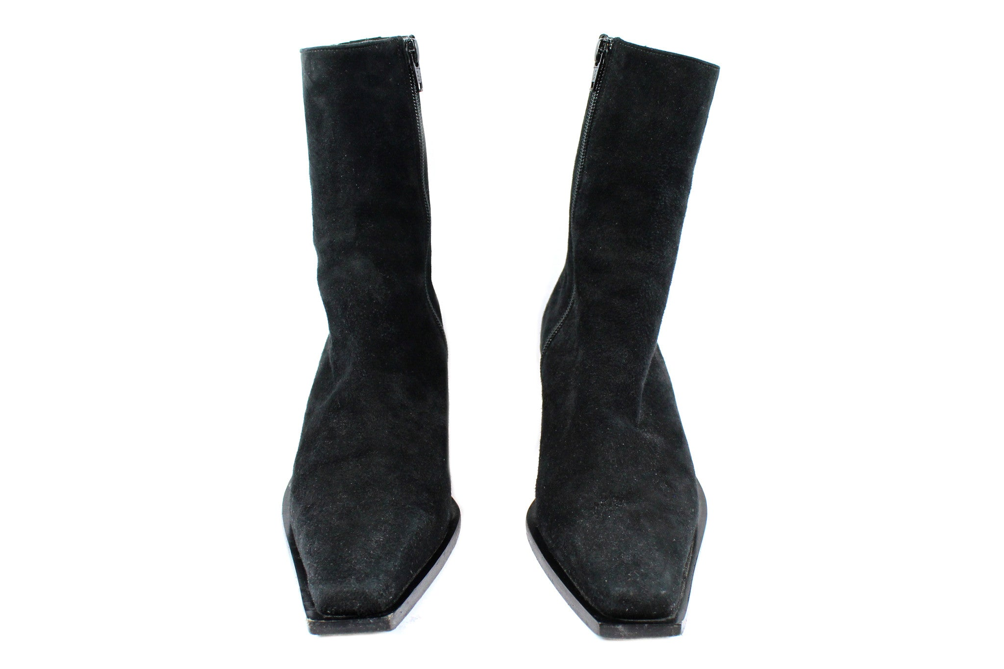 'SOLD' Ann Demeulemeester Suede Ankle Boots w Slanted Heel (Size 37) - Encore Consignment - 3