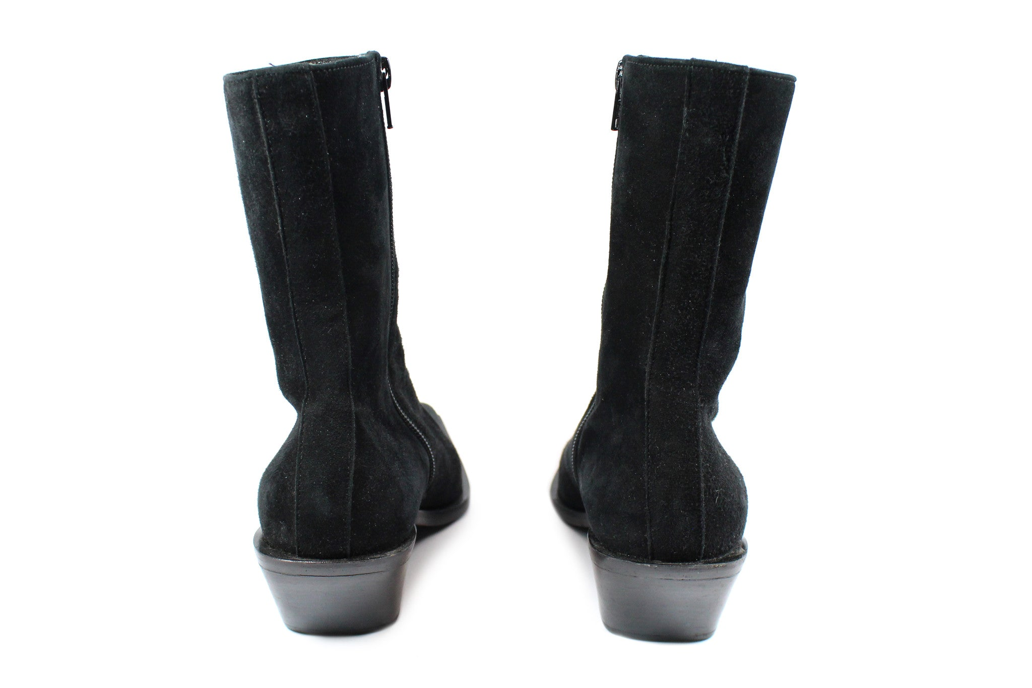 'SOLD' Ann Demeulemeester Suede Ankle Boots w Slanted Heel (Size 37) - Encore Consignment - 4