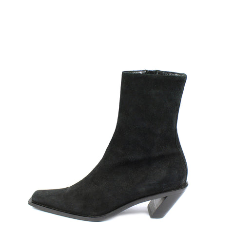 'SOLD' Ann Demeulemeester Suede Ankle Boots w Slanted Heel (Size 37) - Encore Consignment - 1