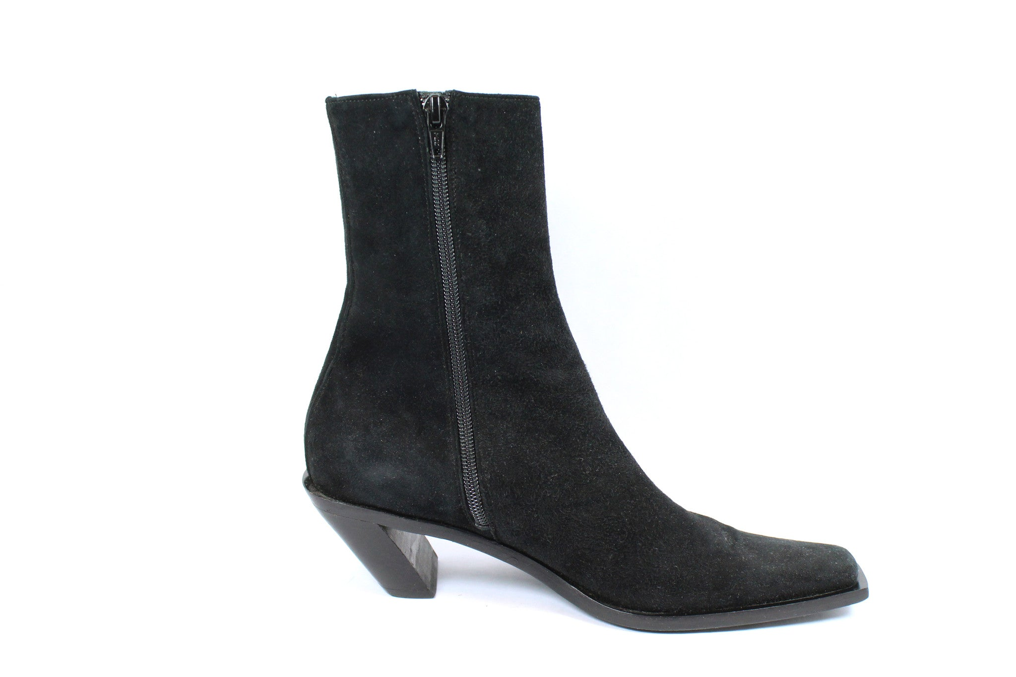 'SOLD' Ann Demeulemeester Suede Ankle Boots w Slanted Heel (Size 37) - Encore Consignment - 5