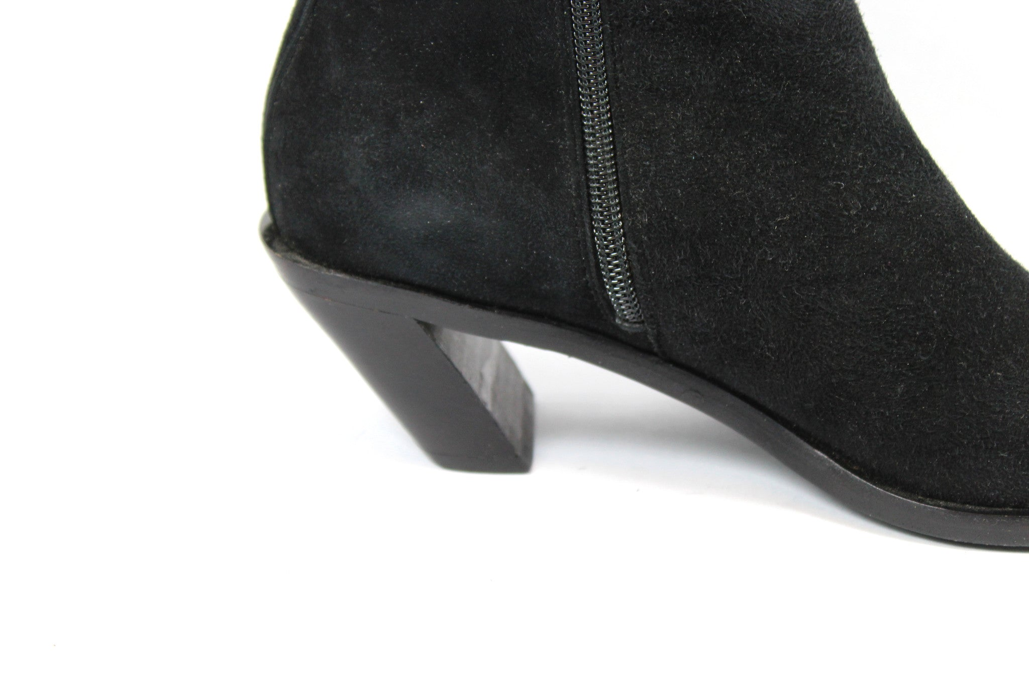 'SOLD' Ann Demeulemeester Suede Ankle Boots w Slanted Heel (Size 37) - Encore Consignment - 6